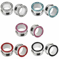 PAIR 316L Stainless Steel Screw Fit CZ Flesh Ear Tunnels Plugs Ear Gauge Earring