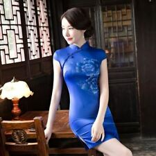 Women Short Sleeve Stand Collar Blue Red Color Above Knee Mini Dress