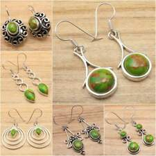 Silver Plated Jewelry !! GREEN COPPER TURQUOISE Earrings ! Many Styles To Choose