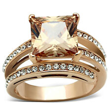 Rose Gold Plated 6.85 Ct Princess Cut Champagne CZ Cocktail Ring