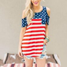 Women American Flag USA Stars Striped Split Joint Off Shoulder Soft T-Shirt Tank