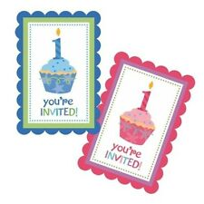 8x Babies First Birthday Invitations Blue Pink 1st Party Invite Cupcake Boy Girl