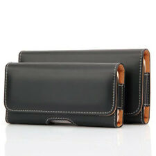 CELL PHONE CASE POUCH BLACK LEATHER RUGGED HOLSTER CLIP BELT LOOP CARRYING COVER