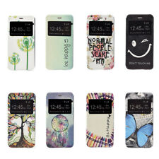 Patterned Window Card Leather Stand Case Cover For Samsung A3 A5 A7 A9 S7 KU