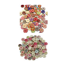 200pcs Mixed Round Pattern 2 Holes Wood Buttons Sewing Scrapbooking 15/20mm