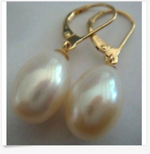 AAA+ 11-13mm real natura south sea white Drop pearl earrings 14k Yellow Gold