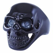 Mens Pirate Skull Biker Ring Black Surgical Stainless Steel Band Size 8-16