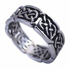 Mens Celtic Knot Open Weave Fashion Ring 316L Stainless Steel Band Size 8-15