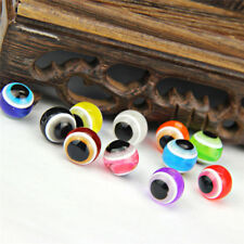 10x Resin Evil Eye Stripe Spacer Beads Round Loose Beads DIY Jewelry-Making、New