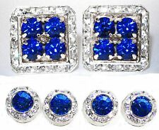 CAPRI BLUE SQUARE CUFFLINKS & ROUND STUDS TUXEDO SET MADE W/SWAROVSKI CRYSTALS