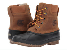 Sorel Mens Cheyanne II Lace Duck Boot 10.5 Chipmunk Waterproof Leather Snow