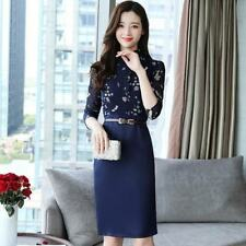 Women Long Sleeve Floral Printed Chiffon Fabric Plus Size Bodycon Pencil Dress
