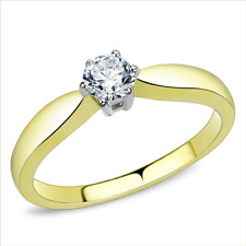 3440 Solitaire Simulated diamond ring gold stainless steel pretty engagement