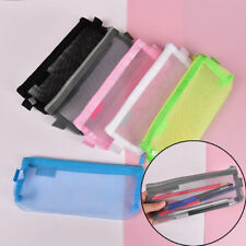 Clear Exam Pencil Case 20cm Transparent Simple Mesh Zipper Stationery BagSN