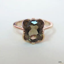 Adita UNIQUE 14k Solid Rose Gold HANDMADE OVAL Smoky Quartz Gold Vintage Rings