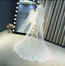 New White Ivory Cathedral Length Lace Edge Bride Wedding Bridal Veil Long Trails