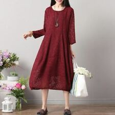 Black Color Lace Decorated Large Size Mid-calf Dress for Women