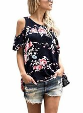 Asvivid Women's Floral Spring Print Cut Out Shoulder Short Sleeve T Shirt Blouse