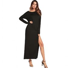 Women's Off Shoulder Long Maxi Dress Evening Party Long Sleeve Shirt Dress USPS