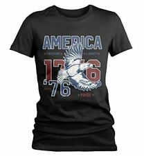 Shirts By Sarah Women's Vintage America 1776 Eagle Freedom Pride T-Shirt 4th Jul