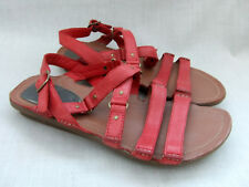NEW CLARKS POWDER PUFF WOMENS RED LEATHER SANDALS SIZE 5 / 38
