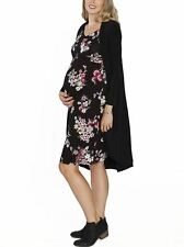Angel Maternity Layer It: Floral Dress & Black Cardigan Outfit