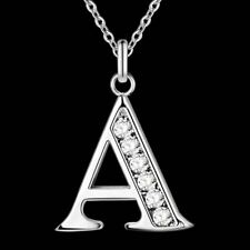 Letter A-S silver plated Necklace Stamp 925 silver jewelry Pendant