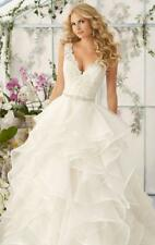 New White Ivory Appliques V-neck Tiered Wedding Dress 2 4 6 8 10 12 14 16 18 AC5