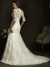 New White Ivory Sleeves Train Lace Wedding Dress 2 4 6 8 10 12 14 16 18 20 T2YHD