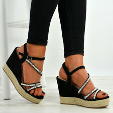 New Womens Ladies Ankle Strap Studded Espadrille Wedge Platform Sandals Shoes