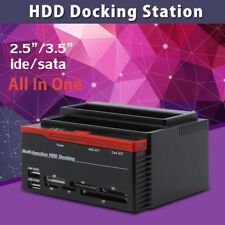 External Double SATA IDE HDD Docking Station 2.5''/3.5''Hard Drive Card Reader A