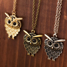 Vintage Cute Hollow Out Owl Pendant Necklace Long Sweater Chain Women Jewelry