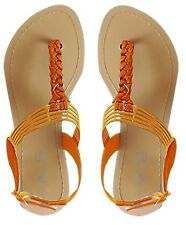 Peach Couture Roman Gladiator Sandals Back Buckle Braided Thong Flat Heel