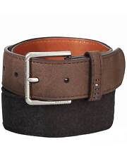 Tommy Hilfiger Mens Felt Panel Handcrafted Synthetic Leather Belt Brown Size 38