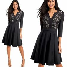Women Black Color Floral Lace Patchwork Pattern V Neck 3/4 Sleeve A-Line Dress