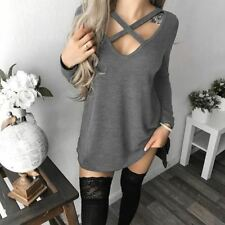 Women Long Sleeve V-Neck Hollow Out Party Wear Lace Up Dress