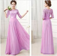 Women Round Neck Wedding Party Wear Pleated Chiffon Maxi Dress With Lace