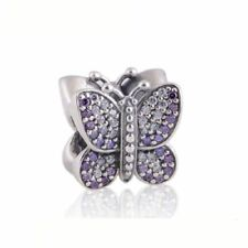 authentic 925 sterling silver Charms Beads Pave CZ Butterfly AAA Cubic Zirconia