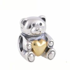 authentic Sterling Silver Charm Beads Bear Hug Hearts Bead Accessories Jewelry