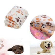 US Pet Dog Cat Bed Blanket Mat Puppy Coral Fleece Soft Cushion Paw Print Cloth