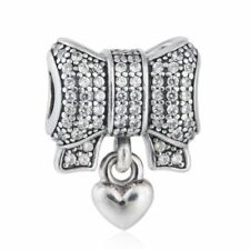 authentic 925 sterling silver Charm Shimmering Pave CZ Bow Heart Pendant beads