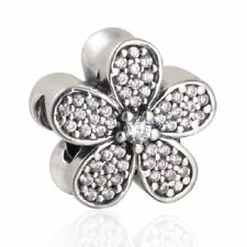 authentic Sterling Silver beads Clear Zircon Daisy European Charm Fit Bracelet