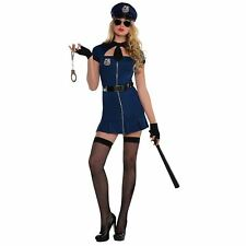Adult Ladies Sexy Halloween Police Officer Cop Blue Stripper Fancy Dress Costume