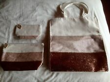 CLARINS Ltd. Edition Tote, Toiletries, Cosmetics, Make Up Bags - Gold Canvas NEW