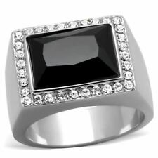 1810 SIMULATED BLACK ONYX 316L STAINLESS STEEL RING EMERALD CUT SIGNET MENS MANS