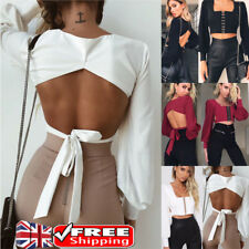 Women Cut Out Backless Square Neck Crop Top Nightout Clubwear Long Sleeve Blouse