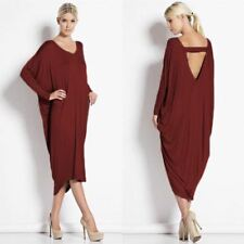 Women Solid Color Long Sleeve V Neck Casual Hollow Out Loose Long Dress