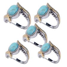 Elegant Oval Turquoise Gold Silver Feather Ring Women Jewelry Gift Size 6-10