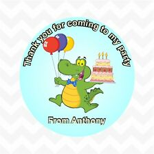 Crocodile personalised birthday party favour thank you stickers custom name