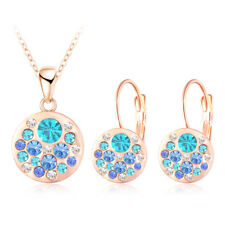 Austrian Crystal Jewelry Set, Round Style Pendant & Earrings, New Trend Jewelry